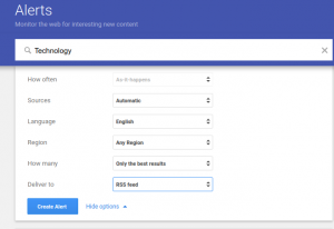 create an RSS Feed from the Google Alerts